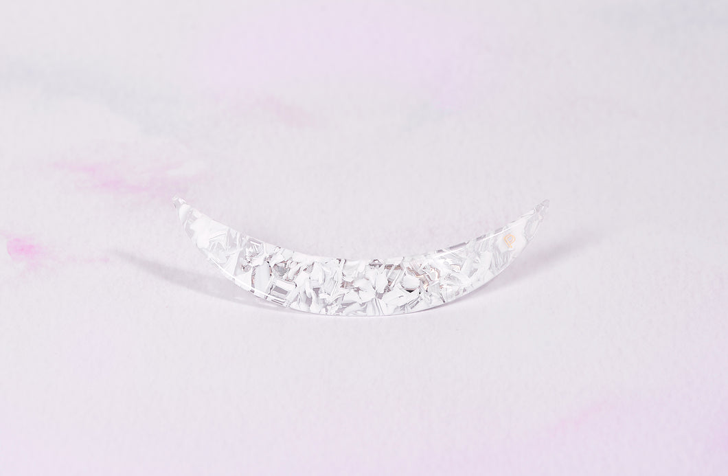 White confetti Moon Barrette