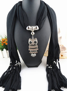 Scarf Necklace With Hanging Owl.