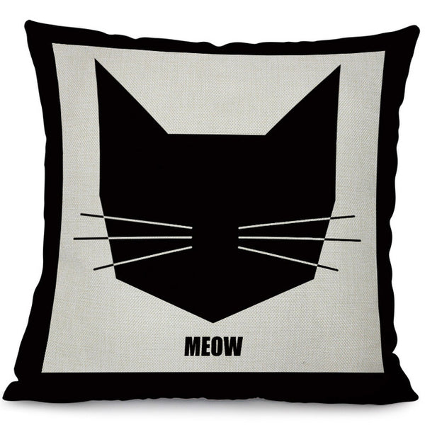 Cushion Cover Printed With Black Cat