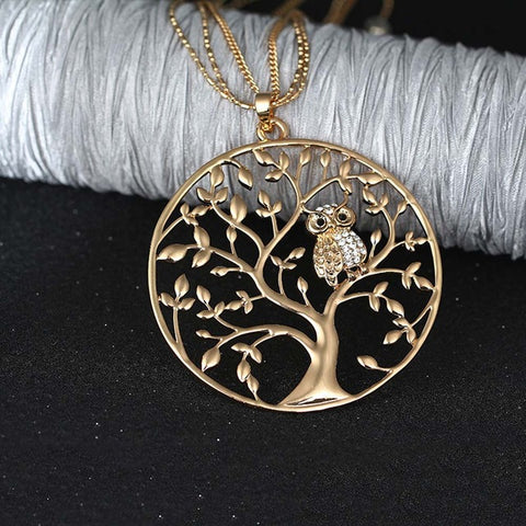 Owl Pendant Necklace In The Tree Of Life.