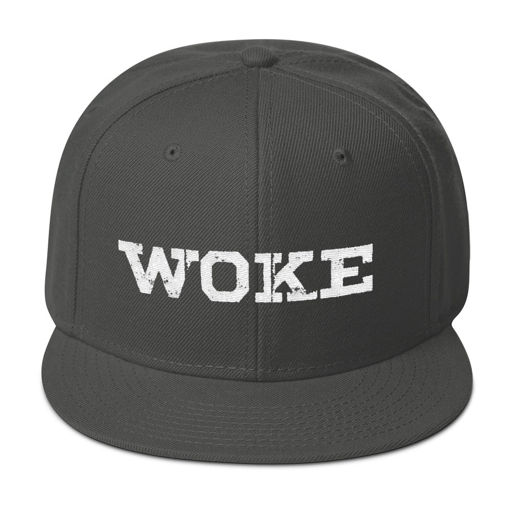 """WOKE"" White Snapback Hat - 1947 Collective Hat"