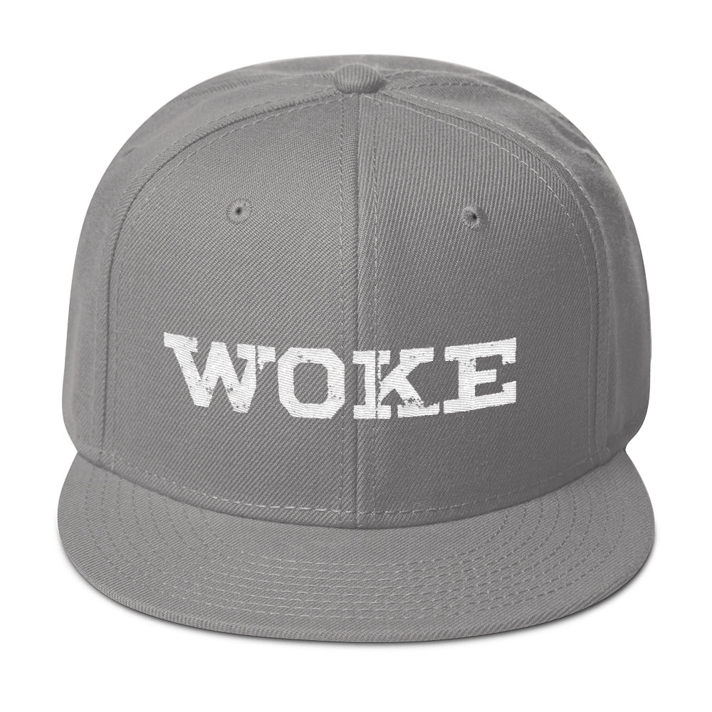 """WOKE"" White Snapback Hat-Hat-1947 Collective"