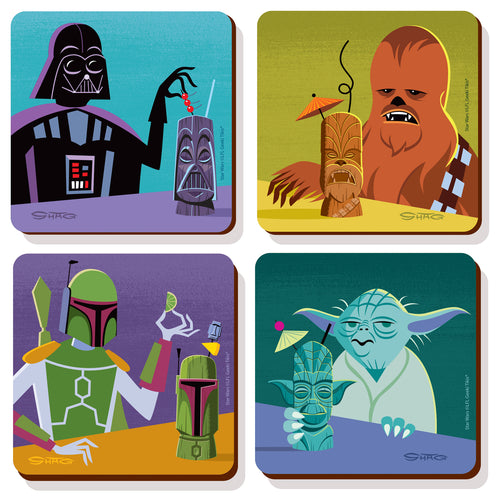 SHAG x Geeki Tikis® Coasters 4-Pack w/Display Stand
