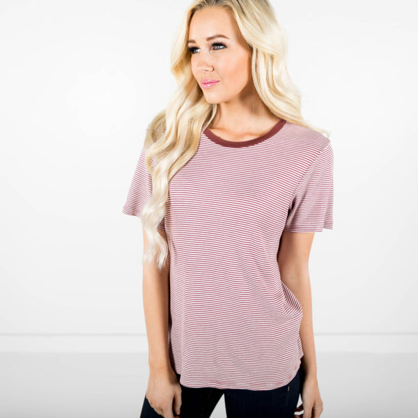 Harlow Stripe Tee in Burgundy