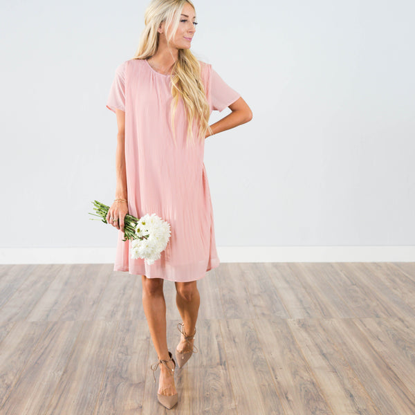 Camilla Blush Pleated Dress