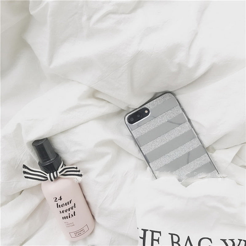 Silver mirror back stripe iphone case