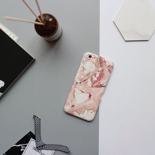 Matte touch marble iphone case