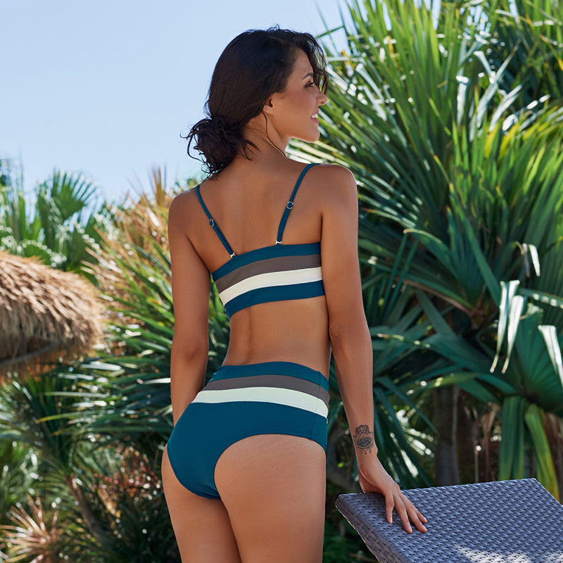 Jenna high waist striped bikini