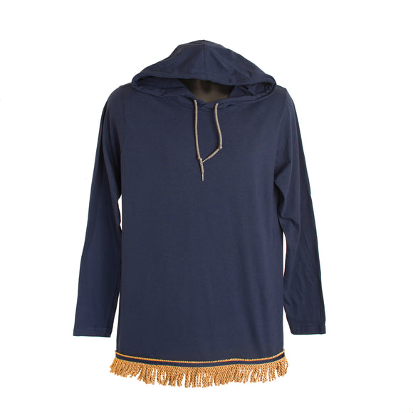 Navy Fringed Long Sleeved Light Weight Hoodie