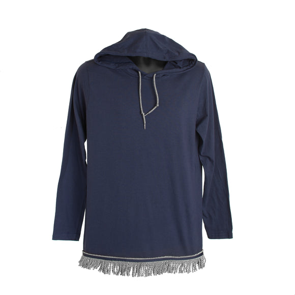 Navy Long Sleeved Light Weight Hoodie With Gray Fringe