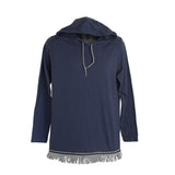 Starting at $29.99 Navy Long Sleeved Light Weight Hoodie With Gray Fringe