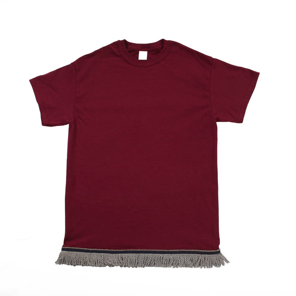 Maroon Tshirt With Gray Fringe