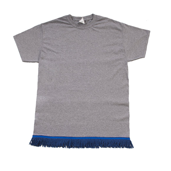 Dark Grey Tshirt With Navy Fringe