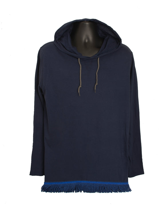 Navy Long Sleeved Light Weight Hoodie With Navy Fringe