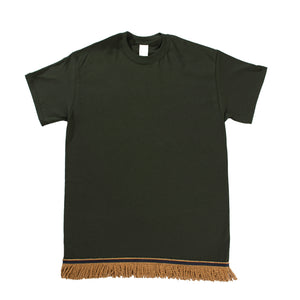 Forest Green Tshirt With Gold Fringe