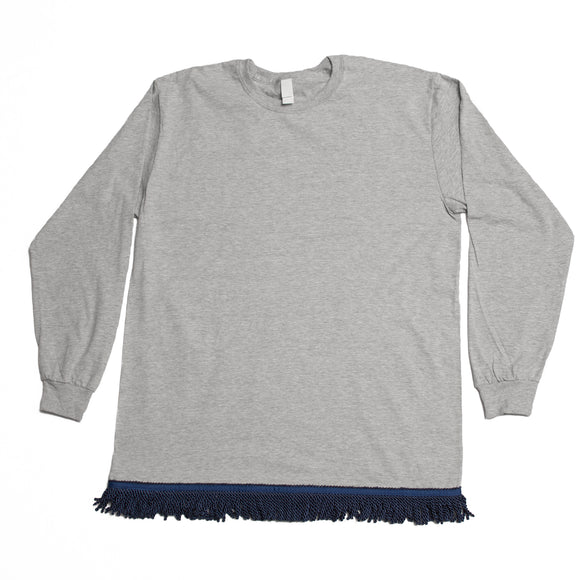 Gray LS Fringed T Shirt