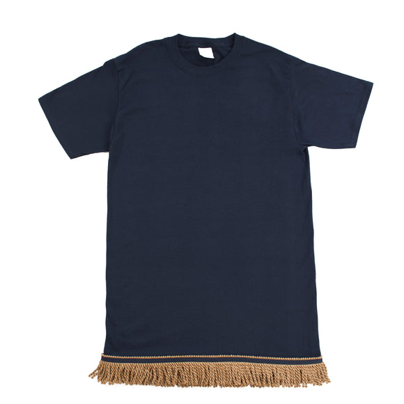 Navy Fringed Tshirt With Gold Fringe
