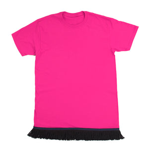 Woman's Dark Pink Tshirt With Black Fringe