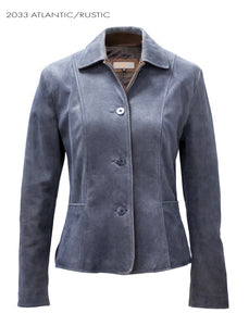 Women's Remy Leather Atlantic Blue Blazer