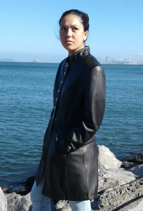 Black Leather Button Overcoat