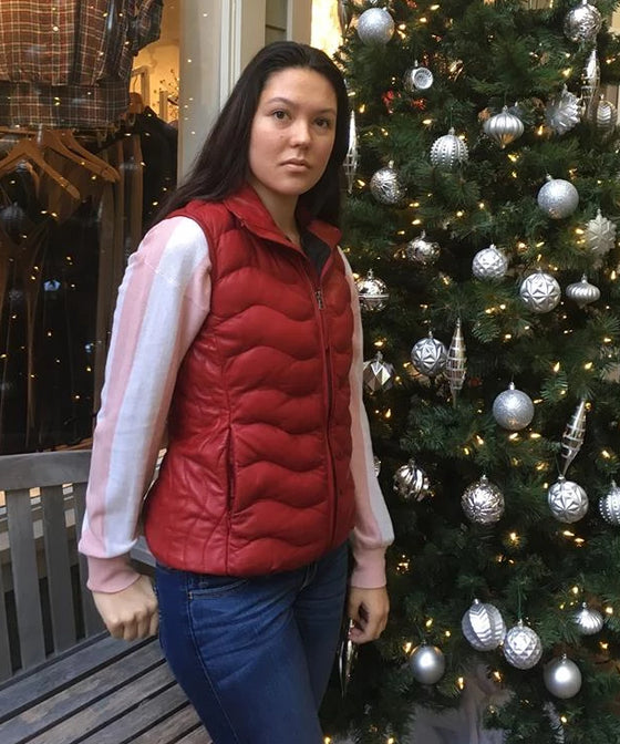 Red Down Leather Vest