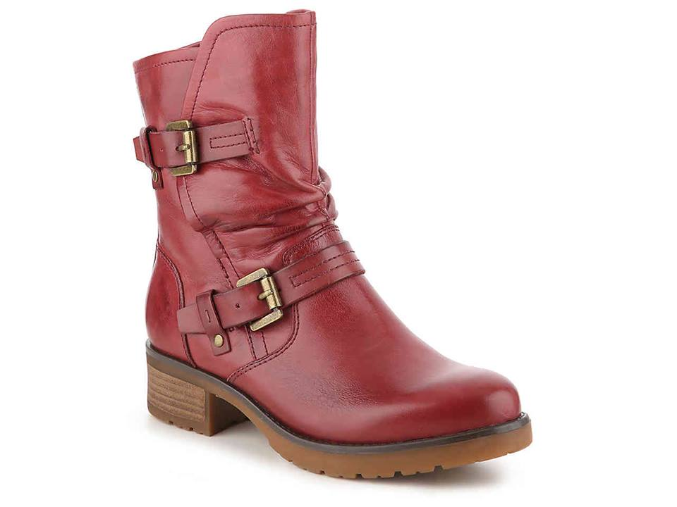 Red Leather Boot with Buckles