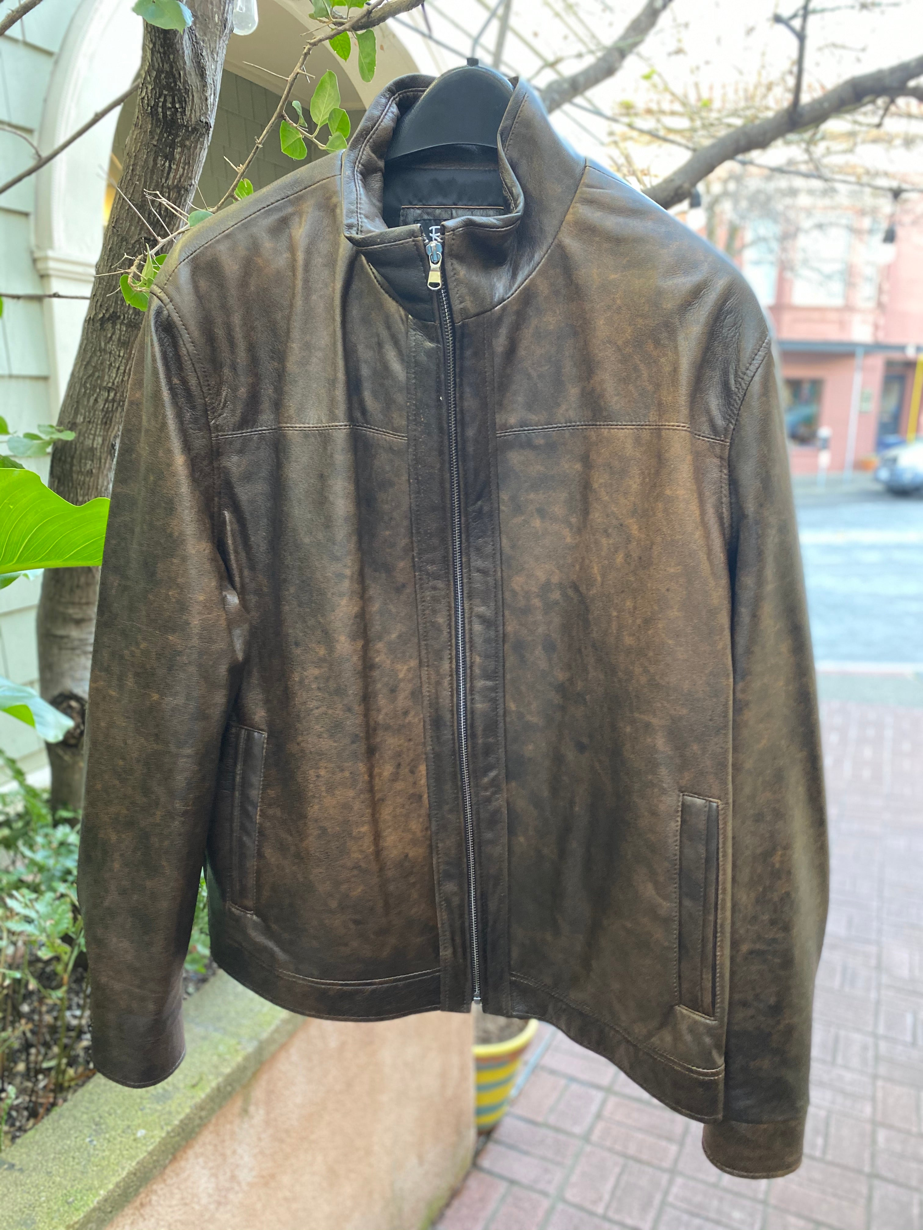 Men's Remy Distressed Leather Coat