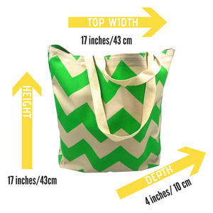 Green Bag - Chevron fabric - eco friendly gift - Colourful Bag