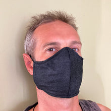 Black Plain Face Masks - triple layered