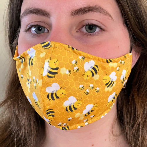 Bee Kind facemask - Resuable & washable mask mask - 4 sizes! Nose Wire available