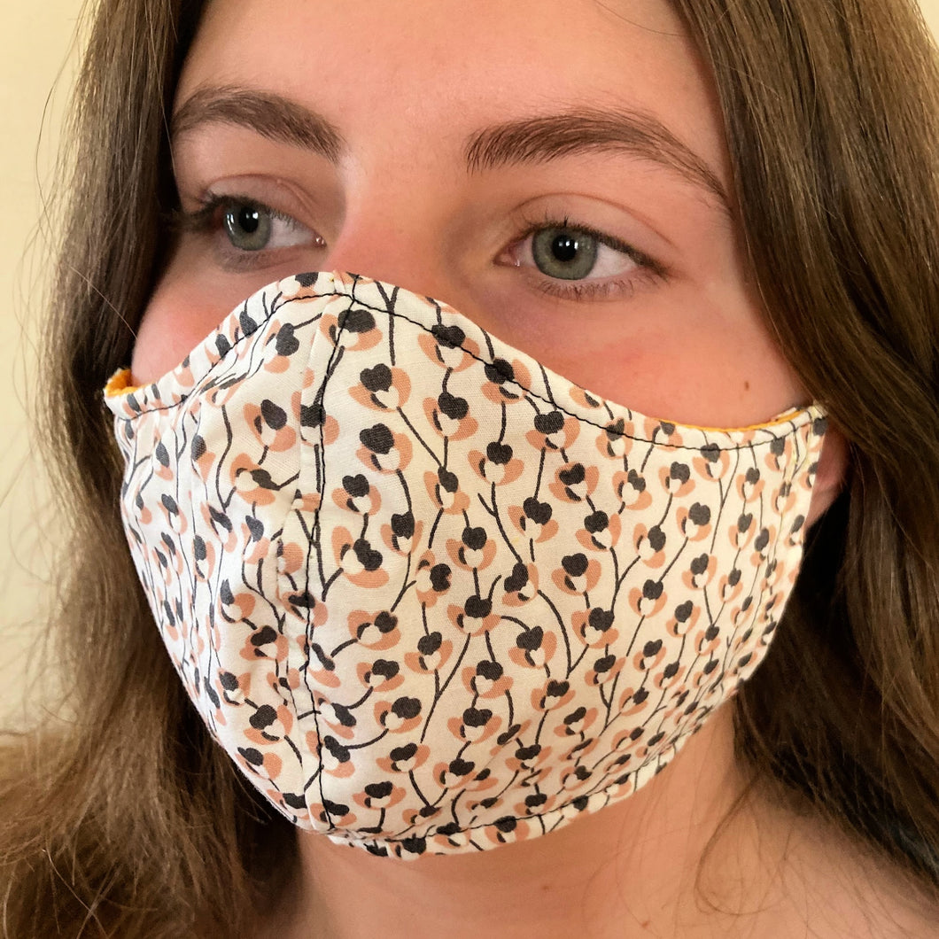 Floral Facemasks - White,pink and grey