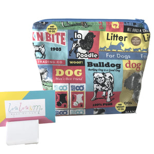 Barking Mad Toiletry Bag-  Make Up Bag - Dog lovers gift - dog fabric