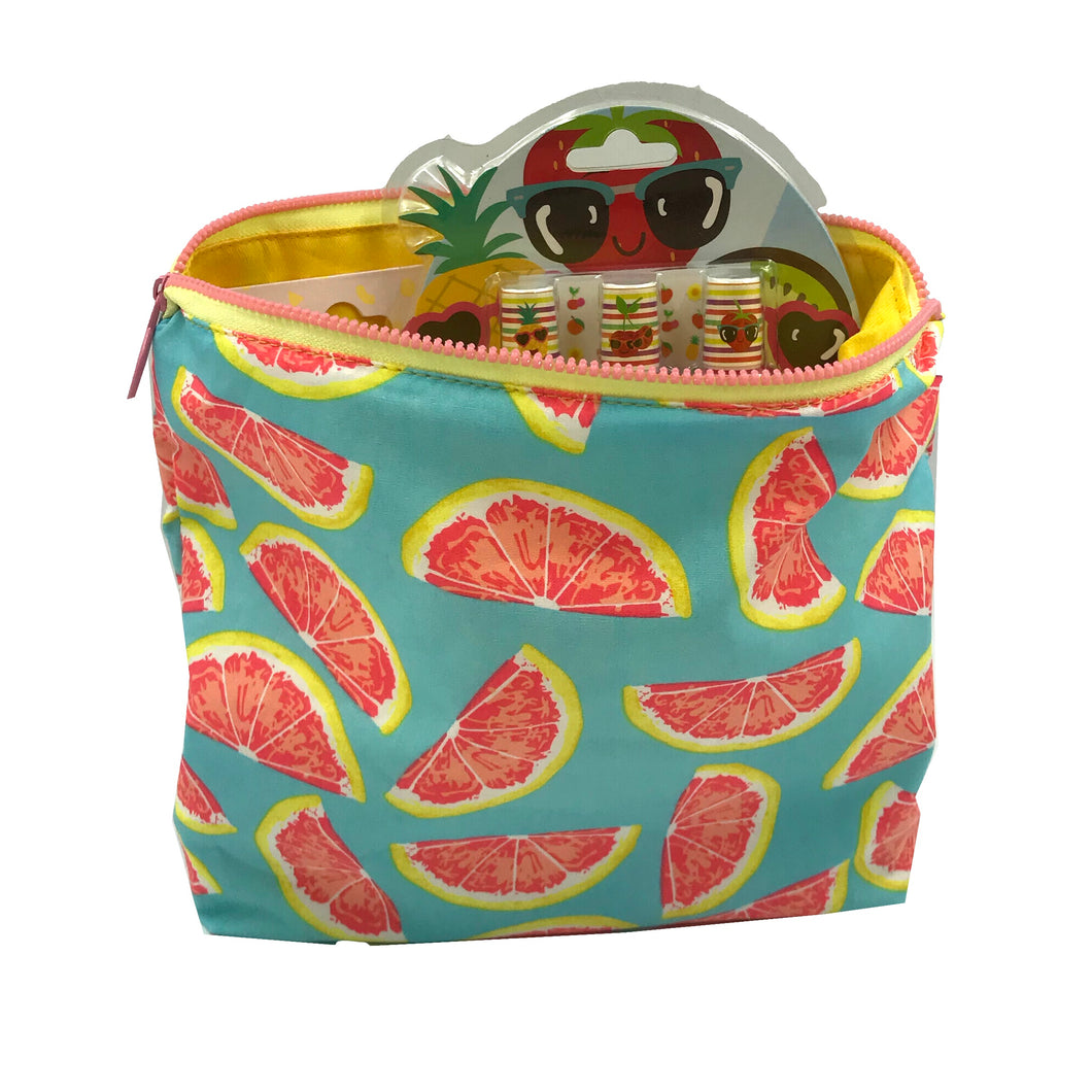 Pink Grapefruit Toiletry Bag - Citrus slices - Grapefruit zipper pouch