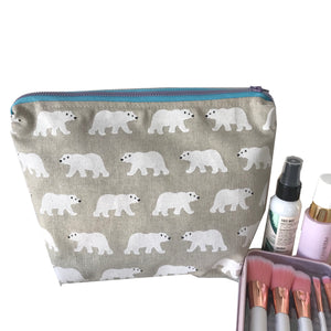 """Bear Hugs"" Toiletry Bag - Save the polar bears- Large makeup bag"