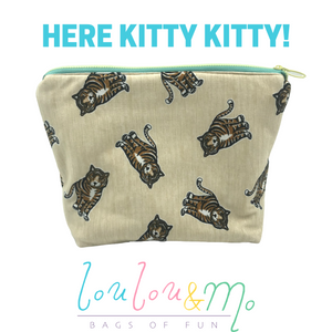"""Here Kitty Kitty"" Toiletry Bag - Tiger King - Tiger fabric - Big Cats"