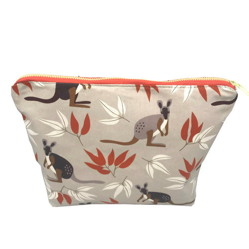 Wallaby Fabric Toiletry Bag - Makeup bag - Kangaroo - Australian gift