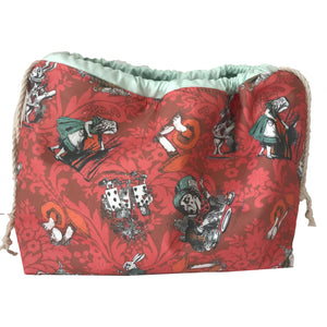 Large Knitting bag - Project Bag - Alice in Wonderland fabric