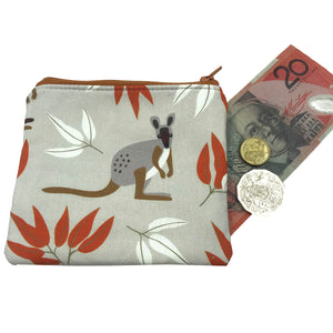 Wallaby Coin Purse - Australian fabric - Cosmetic purse - Kangaroo