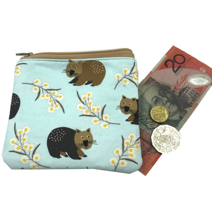 Wombat and Wattle Coin Purse - Australiana - Cosmetic purse