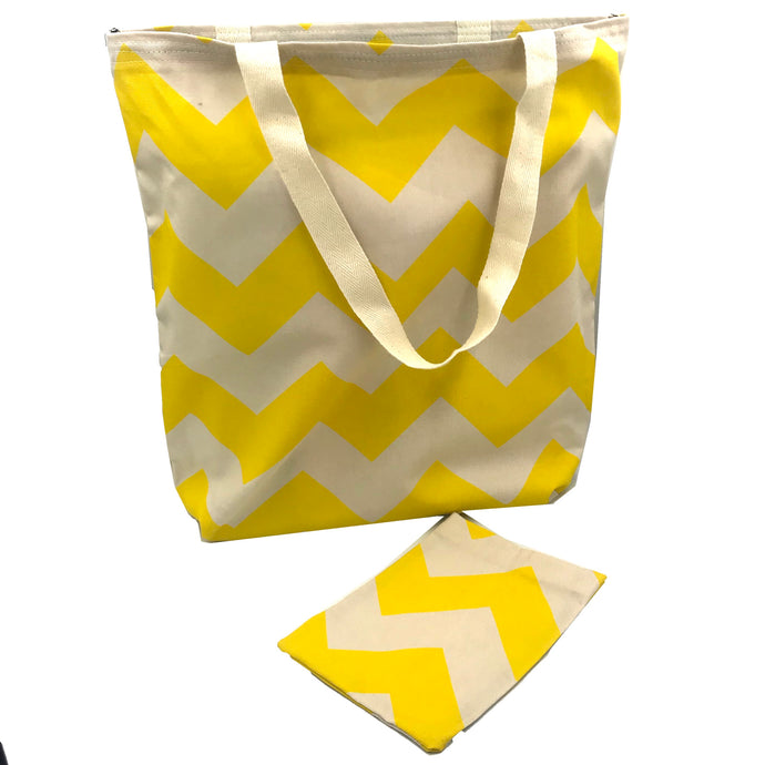 Yellow Bag - Chevron fabric - eco friendly gift - Colourful Bag