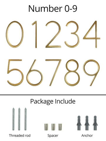 gold brass house numbers