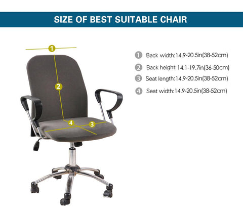 office chair size dimensions for slip cover