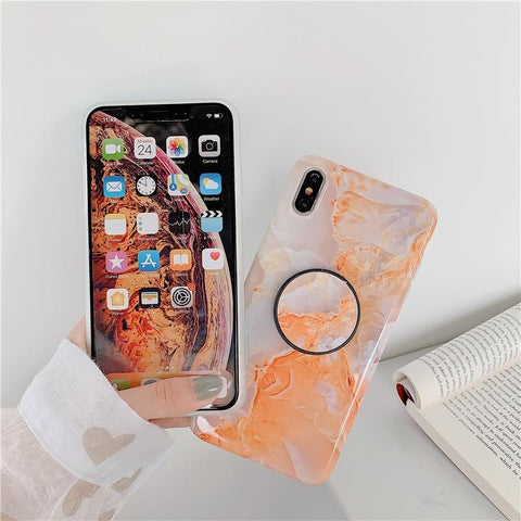 iphone marble stone case with pop up stand