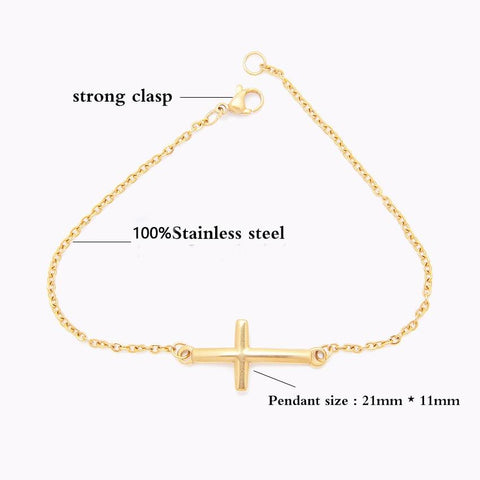 gold cross bracelet thin and minimalist