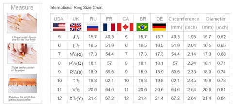 ring size chart for men and women- winfinity brands