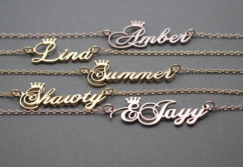 name with crown personalized name necklace