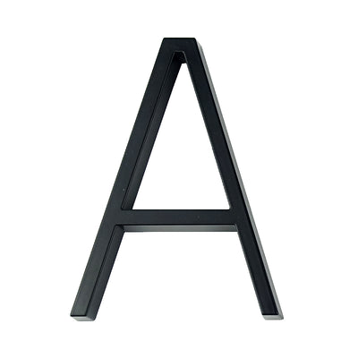 slim black floating house number letter A