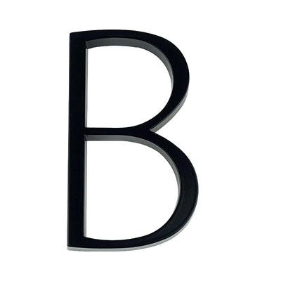 slim black floating house number letter B