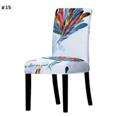 light blue with rainbow feathers dining chair spandex slip covers - winfinity brands