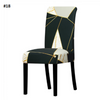 dark blue with grey and white marble and gold dining chair spandex slip covers - winfinity brands